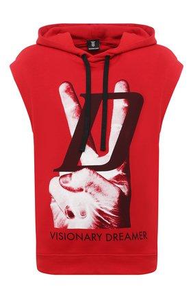 Мужской хлопковое худи DIEGO VENTURINO красного цвета, арт. SS21-DV FLS VDL | Фото 1