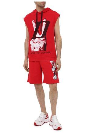 Мужской хлопковое худи DIEGO VENTURINO красного цвета, арт. SS21-DV FLS VDL | Фото 2