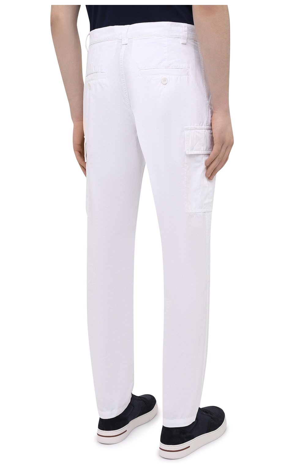 Мужские хлопковые брюки-карго ASPESI белого цвета, арт. S1 A CP31 G178   Фото 4 (Силуэт М (брюки): Карго; Длина (брюки, джинсы): Стандартные; Случай: Повседневный; Материал внешний: Хлопок; Стили: Кэжуэл)
