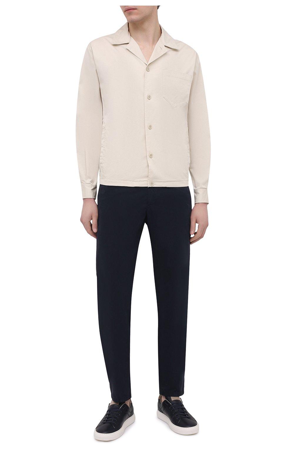 Мужские хлопковые брюки ASPESI темно-синего цвета, арт. S1 A CP24 G178 | Фото 2 (Силуэт М (брюки): Чиносы; Длина (брюки, джинсы): Стандартные; Случай: Повседневный; Материал внешний: Хлопок; Стили: Кэжуэл)
