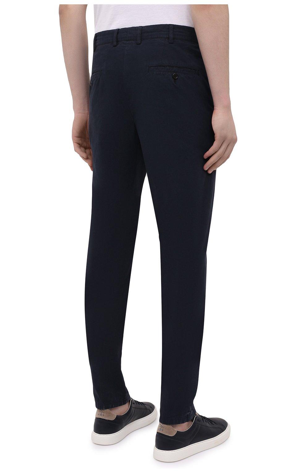 Мужские хлопковые брюки ASPESI темно-синего цвета, арт. S1 A CP24 G178 | Фото 4 (Силуэт М (брюки): Чиносы; Длина (брюки, джинсы): Стандартные; Случай: Повседневный; Материал внешний: Хлопок; Стили: Кэжуэл)