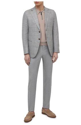 Мужские брюки из шерсти и шелка MARCO PESCAROLO серого цвета, арт. SLIM80/4340   Фото 2