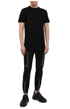 Мужская футболка из вискозы и шелка RICK OWENS черного цвета, арт. RU21S6264/JS | Фото 2
