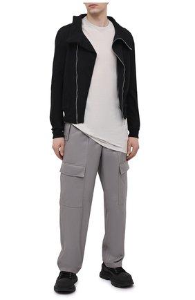 Мужская футболка из вискозы и шелка RICK OWENS светло-серого цвета, арт. RU21S6264/JS | Фото 2