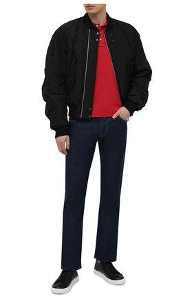 Мужское хлопковое поло JACOB COHEN красного цвета, арт. J4038 00189-L/55 | Фото 2 (Длина (для топов): Стандартные; Застежка: Пуговицы; Стили: Кэжуэл; Материал внешний: Хлопок; Рукава: Короткие)
