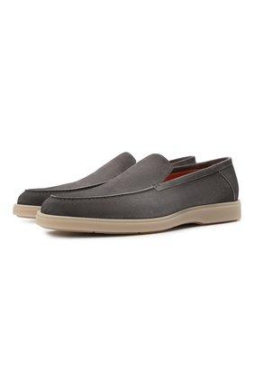 Мужские замшевые лоферы SANTONI темно-серого цвета, арт. MGDT17459TAAEPMSG62 | Фото 1 (Стили: Кэжуэл; Материал внутренний: Натуральная кожа; Мужское Кросс-КТ: Лоферы-обувь; Материал внешний: Замша)