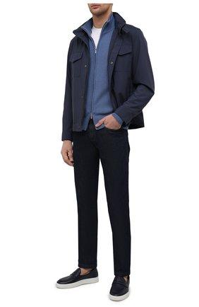 Мужские кожаные слипоны ALDO BRUE темно-синего цвета, арт. ABG02L-CM.P.960 | Фото 2 (Материал внутренний: Натуральная кожа; Стили: Кэжуэл)
