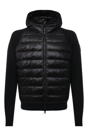 Мужской комбинированный бомбер hybridge CANADA GOOSE черного цвета, арт. 8805MC | Фото 1 (Материал подклада: Синтетический материал; Материал внешний: Синтетический материал; Рукава: Длинные; Мужское Кросс-КТ: пуховик-короткий; Принт: Без принта; Длина (верхняя одежда): Короткие; Кросс-КТ: Куртка)