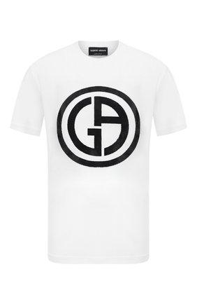 Мужская футболка из вискозы GIORGIO ARMANI белого цвета, арт. 3KSM66/SJSVZ | Фото 1 (Длина (для топов): Стандартные; Рукава: Короткие; Принт: С принтом; Материал внешний: Вискоза; Стили: Кэжуэл)