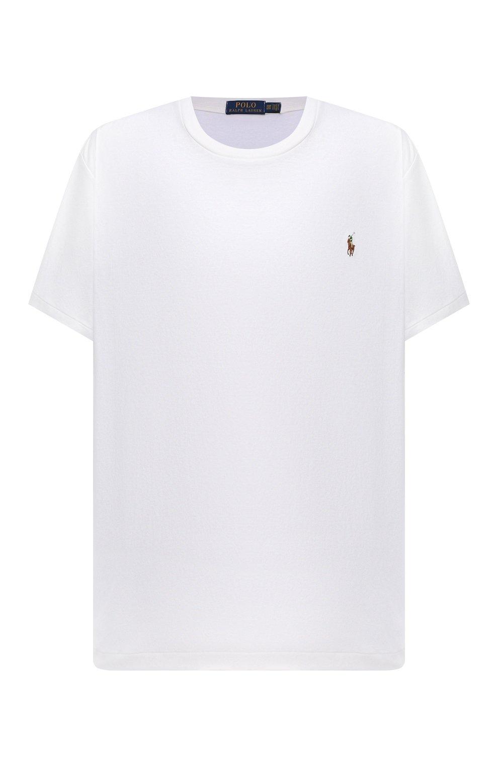 Мужская хлопковая футболка POLO RALPH LAUREN белого цвета, арт. 711746817/PRL BS   Фото 1 (Big sizes: Big Sizes; Принт: Без принта; Рукава: Короткие; Длина (для топов): Удлиненные; Материал внешний: Хлопок; Стили: Кэжуэл)