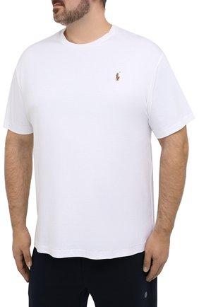 Мужская хлопковая футболка POLO RALPH LAUREN белого цвета, арт. 711746817/PRL BS   Фото 3 (Big sizes: Big Sizes; Принт: Без принта; Рукава: Короткие; Длина (для топов): Удлиненные; Материал внешний: Хлопок; Стили: Кэжуэл)