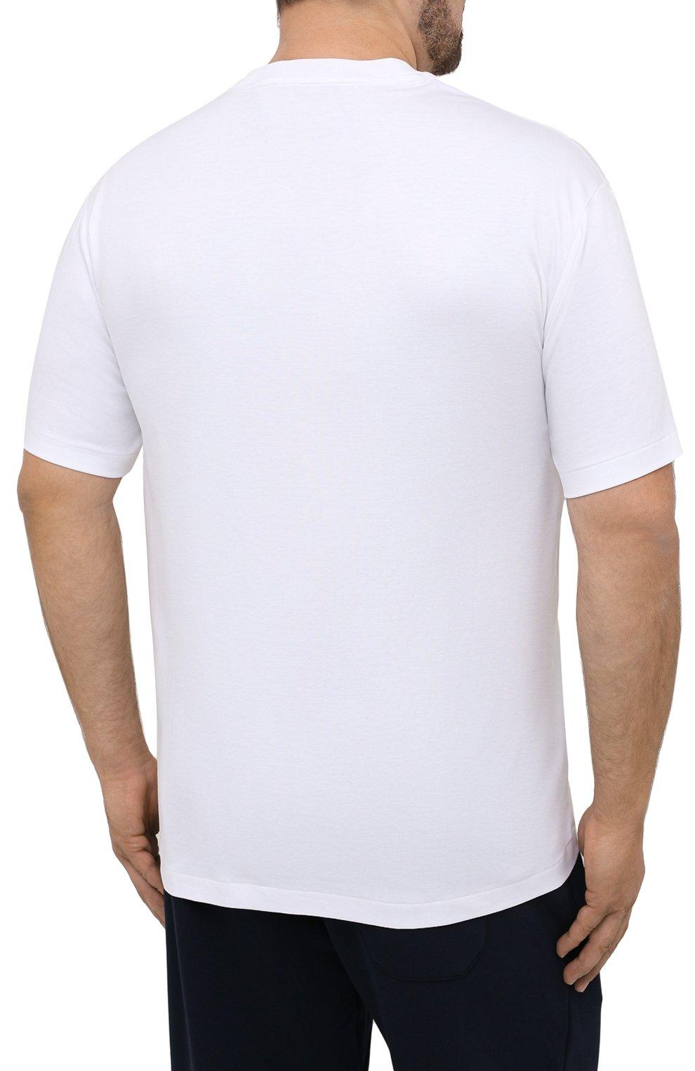 Мужская хлопковая футболка POLO RALPH LAUREN белого цвета, арт. 711746817/PRL BS   Фото 4 (Big sizes: Big Sizes; Принт: Без принта; Рукава: Короткие; Длина (для топов): Удлиненные; Материал внешний: Хлопок; Стили: Кэжуэл)