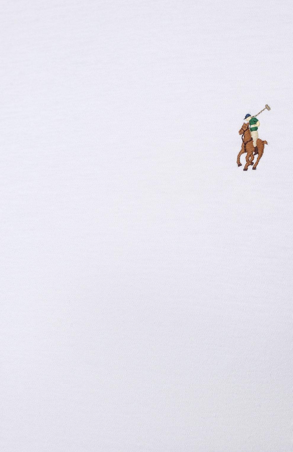Мужская хлопковая футболка POLO RALPH LAUREN белого цвета, арт. 711746817/PRL BS   Фото 5 (Big sizes: Big Sizes; Принт: Без принта; Рукава: Короткие; Длина (для топов): Удлиненные; Материал внешний: Хлопок; Стили: Кэжуэл)