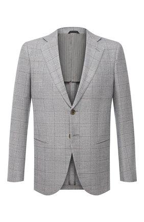 Мужской пиджак из шерсти и льна GIORGIO ARMANI серого цвета, арт. 8WGGG020/T02HR | Фото 1