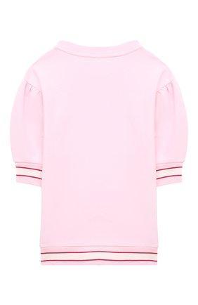 Детское хлопковое платье MONNALISA розового цвета, арт. 197901S4 | Фото 2