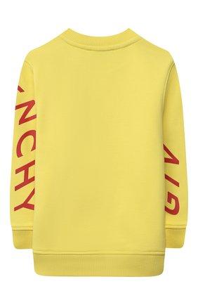 Детский хлопковый свитшот GIVENCHY желтого цвета, арт. H25240 | Фото 2