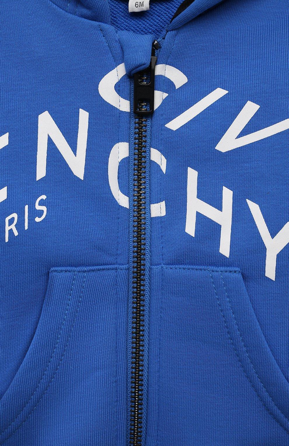 Детский хлопковая толстовка GIVENCHY синего цвета, арт. H05155   Фото 3