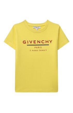 Детская хлопковая футболка GIVENCHY желтого цвета, арт. H25253 | Фото 1