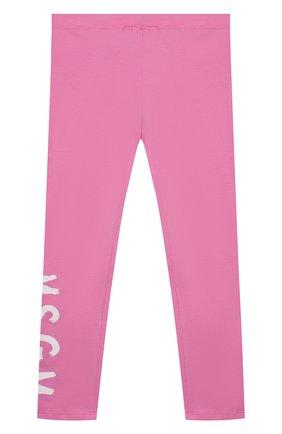 Детские хлопковые леггинсы MSGM KIDS розового цвета, арт. MS027668 | Фото 2
