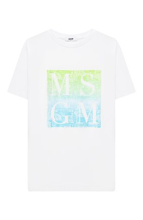 Детская хлопковая футболка MSGM KIDS белого цвета, арт. MS027586   Фото 1