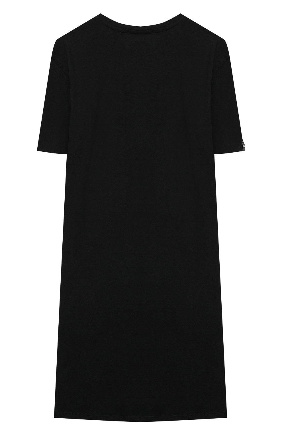 Детское хлопковое платье MSGM KIDS черного цвета, арт. MS027246 | Фото 2 (Рукава: Короткие; Случай: Повседневный; Материал внешний: Хлопок; Девочки Кросс-КТ: Платье-одежда; Ростовка одежда: 10 - 11 лет | 140 - 146см, 12 лет | 152 см, 13 - 15 лет | 158 см, 6 лет | 116 см, 8 лет | 128 см)