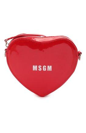Детская сумка MSGM KIDS красного цвета, арт. MS026865   Фото 1 (Материал: Экокожа)