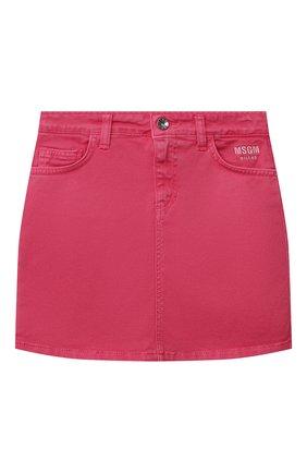 Детская джинсовая юбка MSGM KIDS розового цвета, арт. MS026859 | Фото 1