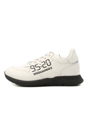 Детские кожаные кроссовки DSQUARED2 белого цвета, арт. 66911/KIPS/18-27 | Фото 2