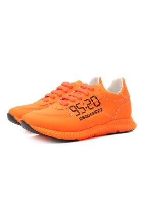 Детские кожаные кроссовки DSQUARED2 оранжевого цвета, арт. 66911/GUM/28-35 | Фото 1 (Стили: Гранж; Материал внутренний: Натуральная кожа)