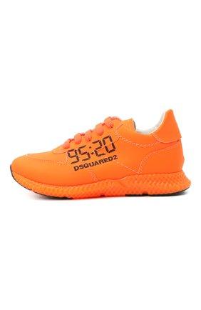 Детские кожаные кроссовки DSQUARED2 оранжевого цвета, арт. 66911/GUM/28-35 | Фото 2 (Стили: Гранж; Материал внутренний: Натуральная кожа)