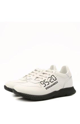 Детские кожаные кроссовки DSQUARED2 белого цвета, арт. 66911/KIPS/28-35 | Фото 1