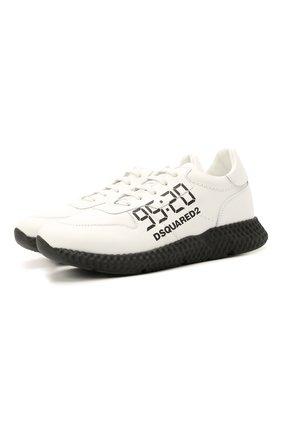 Детские кожаные кроссовки DSQUARED2 белого цвета, арт. 66911/KIPS/36-41 | Фото 1