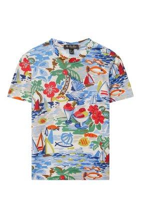 Детская льняная футболка LORO PIANA разноцветного цвета, арт. FAL6059   Фото 1