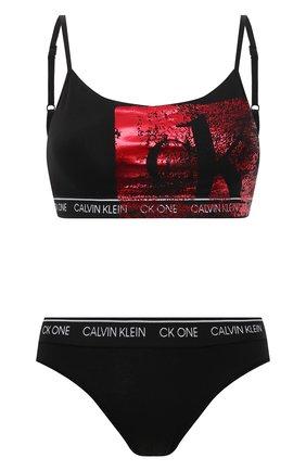 Женские комплект бюстгальтер и трусы CALVIN KLEIN черного цвета, арт. QF6329E | Фото 1