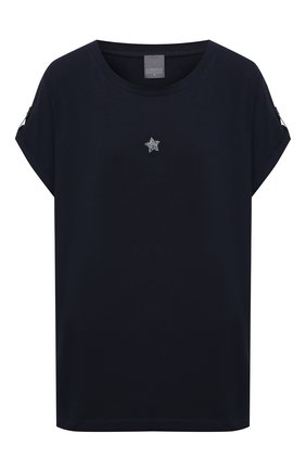 Женская хлопковая футболка LORENA ANTONIAZZI темно-синего цвета, арт. P2155TS025/9999 | Фото 1
