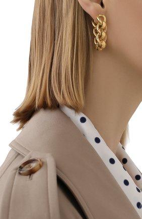 Женские серьги BOTTEGA VENETA золотого цвета, арт. 651137/VAHU0   Фото 2
