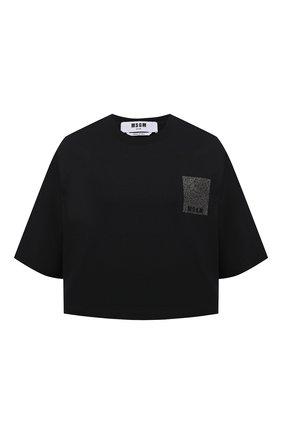 Женская хлопковая футболка MSGM черного цвета, арт. 3041MDM105 217298 | Фото 1