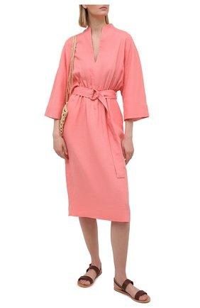Женское льняное платье LORO PIANA розового цвета, арт. FAL1286 | Фото 2