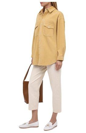 Женские кожаные лоферы STUART WEITZMAN белого цвета, арт. S0397 | Фото 2