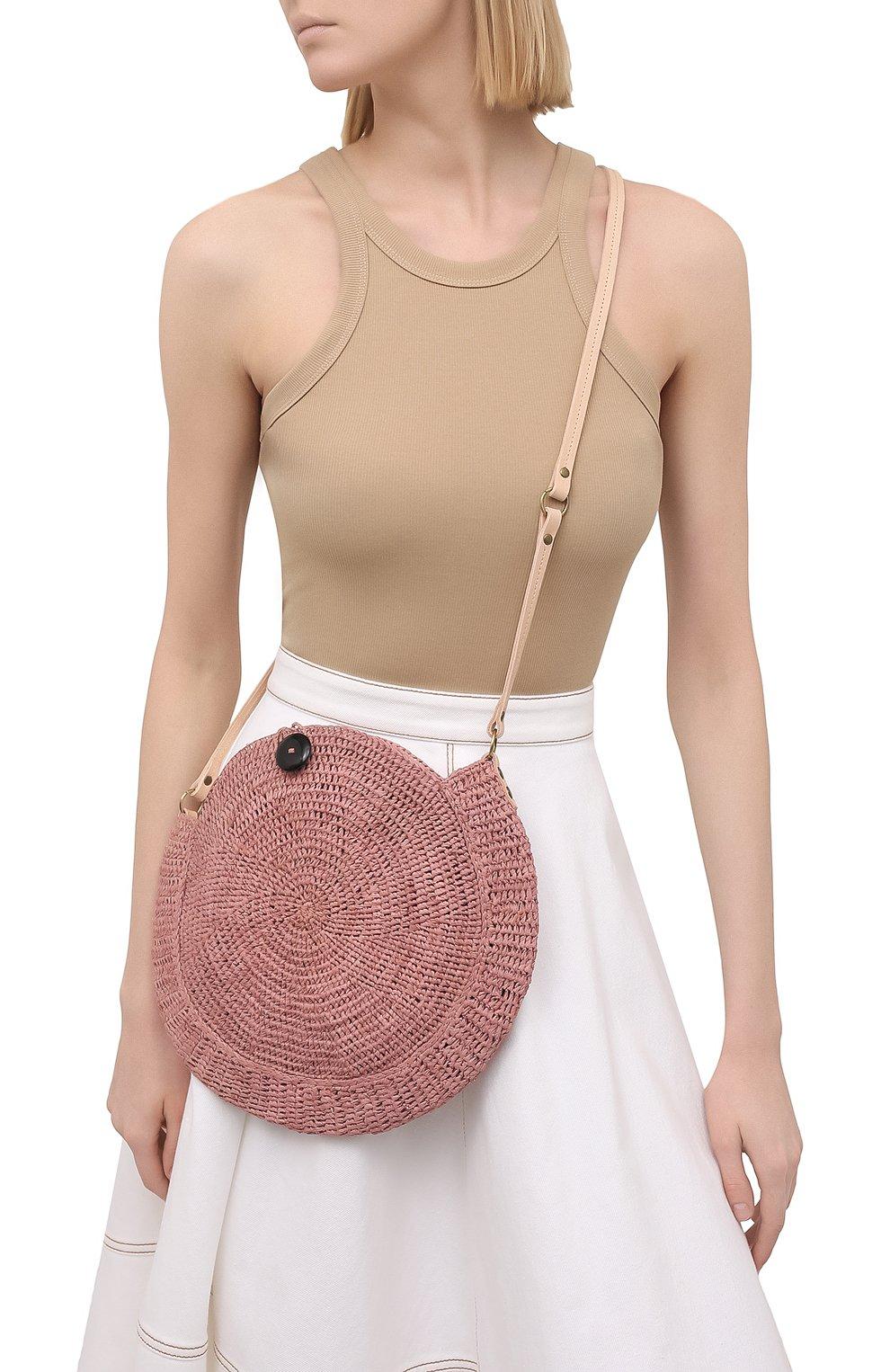 Женская сумка nova small SANS-ARCIDET коричневого цвета, арт. N0VA BAG MA-C S21/XS   Фото 2 (Сумки-технические: Сумки через плечо; Материал: Растительное волокно; Ремень/цепочка: На ремешке; Размер: small)