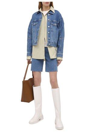 Женские джинсовые шорты 3X1 голубого цвета, арт. WS0111079/LIGHT BLUE | Фото 2 (Кросс-КТ: Деним; Женское Кросс-КТ: Шорты-одежда; Материал внешний: Хлопок; Длина Ж (юбки, платья, шорты): Мини; Стили: Гранж)