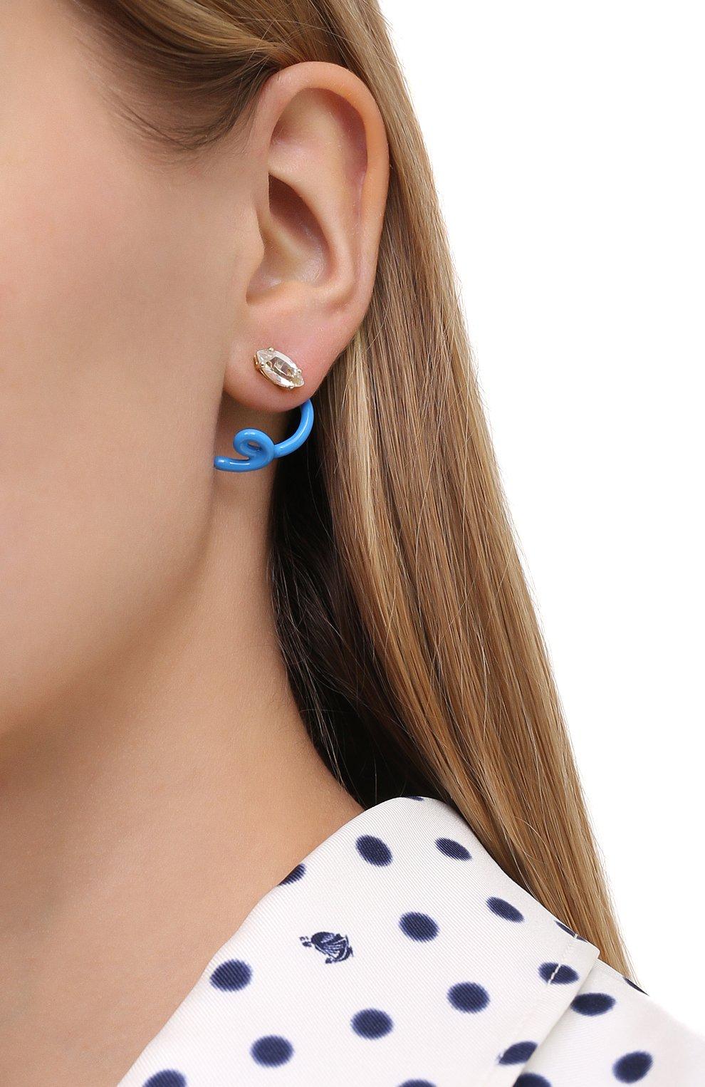 Женские серьги BEA BONGIASCA голубого цвета, арт. VE260YGS-T/M | Фото 2 (Материал: Металл)