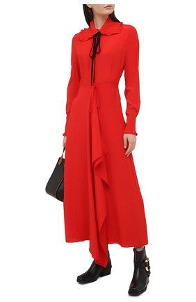 Женское шелковое платье VICTORIA BECKHAM красного цвета, арт. 1121WDR002283A | Фото 2