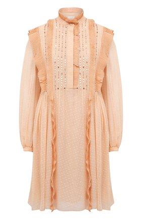 Женское шелковое платье CHLOÉ розового цвета, арт. CHC21SR010340 | Фото 1