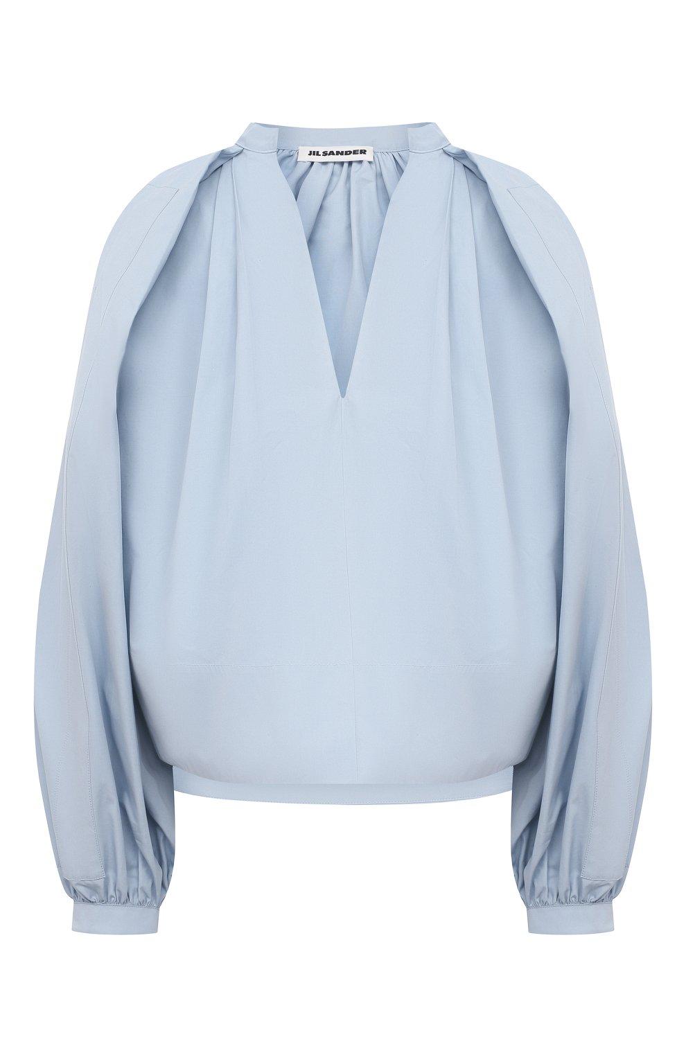 Женская хлопковая блузка JIL SANDER голубого цвета, арт. JSPS561306-WS244200 | Фото 1