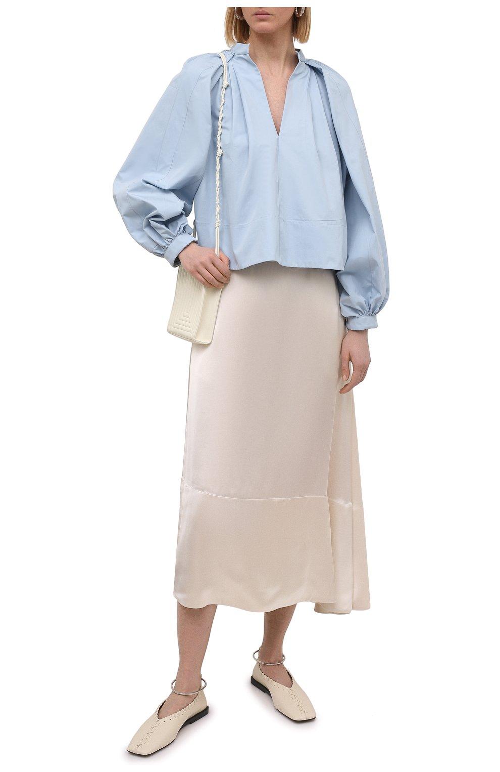 Женская хлопковая блузка JIL SANDER голубого цвета, арт. JSPS561306-WS244200 | Фото 2