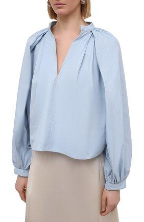 Женская хлопковая блузка JIL SANDER голубого цвета, арт. JSPS561306-WS244200 | Фото 3