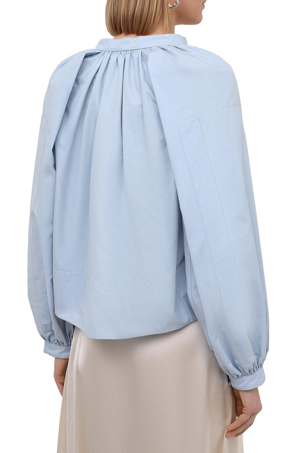 Женская хлопковая блузка JIL SANDER голубого цвета, арт. JSPS561306-WS244200 | Фото 4