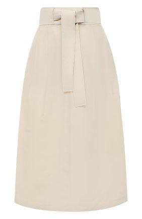 Женская юбка из вискозы и шелка JIL SANDER белого цвета, арт. JSPS350705-WS391900 | Фото 1