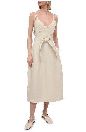 Женская юбка из вискозы и шелка JIL SANDER белого цвета, арт. JSPS350705-WS391900 | Фото 2
